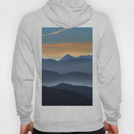 """Misty mountains"". Sunset at the mountains Hoody"