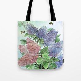 Lilacs and Bees Watercolor Painting Tote Bag