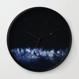 Contrail moon on a night sky Wall Clock