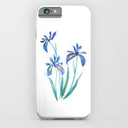 blue iris watercolor iPhone Case