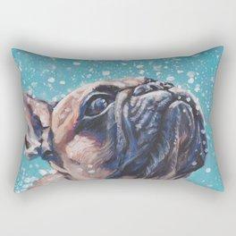 french bulldog dog portrait art from an original painting by L.A.Shepard Rectangular Pillow