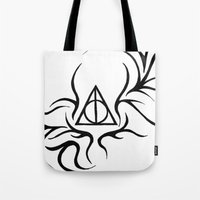 deathly hallows Tote Bags featuring Deathly Hallows by Ria-Ra