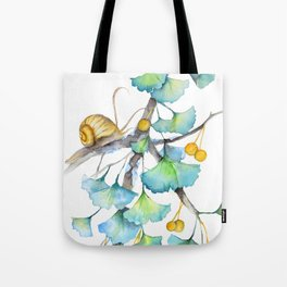 Ginkgo and A Snail Tote Bag