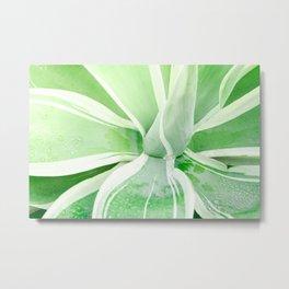 Green leaf photography Morning dew I Metal Print