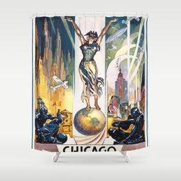 Vintage World's Fair Chicago 1933 Shower Curtain