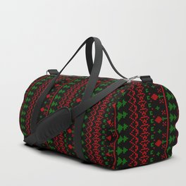 3 Knitted Christmas pattern in retro style pattern Duffle Bag