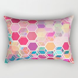 Rainbow Honeycomb - colorful hexagon pattern Rectangular Pillow