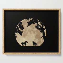 Two Horses in the Sepia Full Moon, Moon Struck Magic Serving Tray