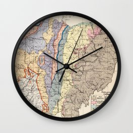 Vintage Geological Map of Ohio (1872) Wall Clock