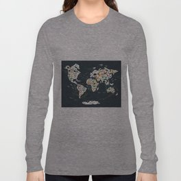 Cartoon animal world map for children, kids, Animals from all over the world, back to school, gray Langarmshirt