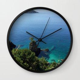 Corfu Island Ionian sea summer rocks sea Greece Wall Clock