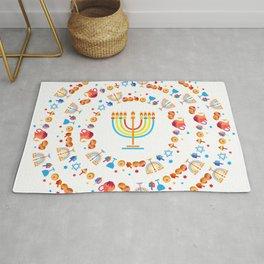 Happy Hanukkah Holiday Pattern Rug