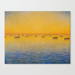 Classical Masterpiece 'Setting Sun and Boats' by Paul Signac Canvas Print