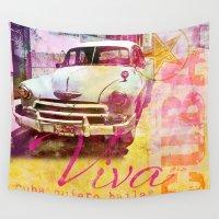 cuba Wall Tapestries featuring Viva Cuba by LebensART