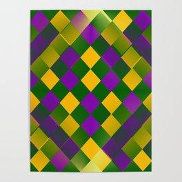 Harlequin Mardi Gras pattern Poster