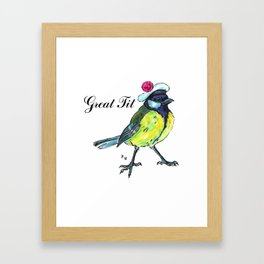 Great tit in white beret Framed Art Print
