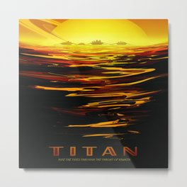 Titan : NASA Retro Solar System Travel Posters Metal Print