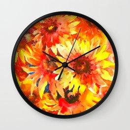 Bright Orange, Red, Yellow Flowers (blanket Flowers) Wall Clock