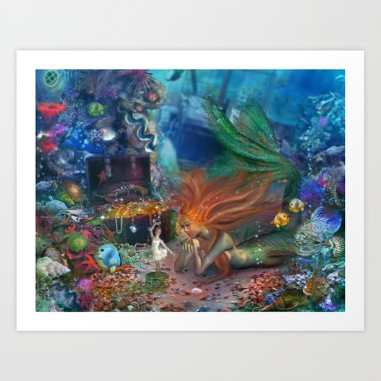 The Mermaid's Treasure Art Print