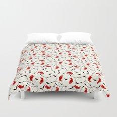 Strange Red Flowers Pattern Duvet Cover
