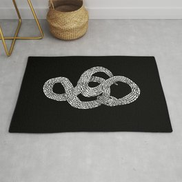 White on Black Snake Rug