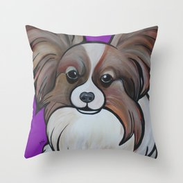 Murphy the papillon Throw Pillow