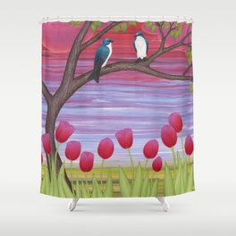 tree swallows & tulips at sunrise Shower Curtain