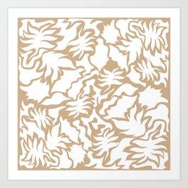 Minimal Shapes Peach Skintone Fall Palm Leaf Pattern Digital Art Print Art Print