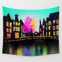 amsterdam Wall Tapestries featuring AMSTERDAM by mark ashkenazi