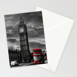 London - Big Ben with Red Bus bw red Stationery Cards