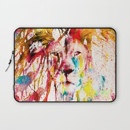 Wild Lion Sketch Abstract Watercolor Splatters Laptop Sleeve