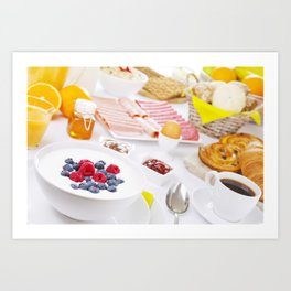 II - Table full with continental breakfast items, brightly lit Art Print