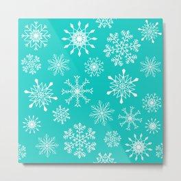 Snowflakes (mint) Metal Print