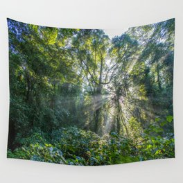 Sun Rays in a Forest Wall Tapestry