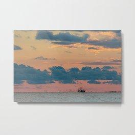 Shrimp Boat Following Metal Print