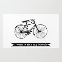 bicycle Area & Throw Rugs featuring bicycle by Beverly LeFevre
