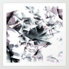 Modern Black and White Diamond Abstract Geometric Art Print