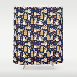 Corgis celebrate christmas - blue pattern Shower Curtain