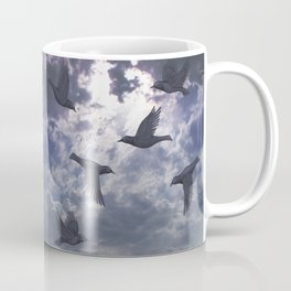 crows in the stormy sky Coffee Mug