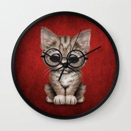 Cute Brown Tabby Kitten Wearing Eye Glasses on Red Wall Clock