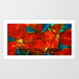 Garden Spirits - Vibrant Red Poppies Flowers By Sharon Cummings Art Print