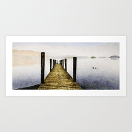 Out Along the Dock. Derwentwater, Lake District, UK. Watercolor Painting. Art Print