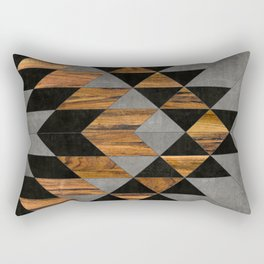 Urban Tribal Pattern 10 - Aztec - Concrete and Wood Rectangular Pillow
