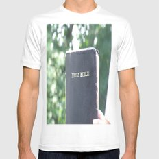 Holy Bible w/ bokeh MEDIUM Mens Fitted Tee White