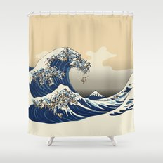 The Great Wave of Pugs Vanilla Sky Shower Curtain