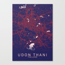 Udon Thani, Thailand, Blue, White, City, Map Canvas Print