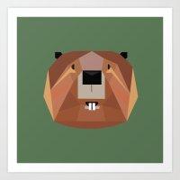 beaver Art Prints featuring Beaver by Alysha Dawn