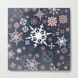 Beautiful Christmas pattern design with snowflakes Metal Print