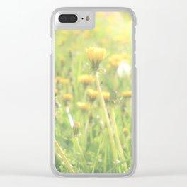 sunflare dandelion garden Clear iPhone Case