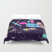 makeup Duvet Covers featuring Retro Makeup by minniemorrisart